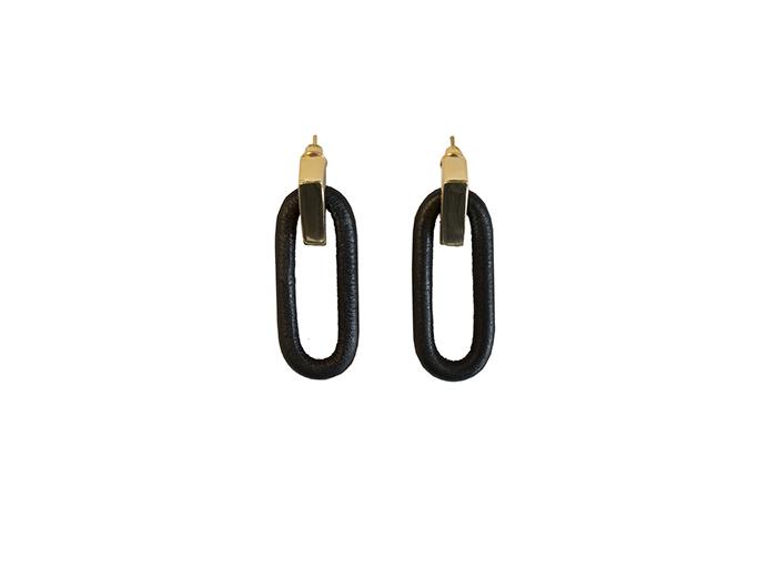 """画像1: Wrapped pierce/earing """"OVAL""""(BLACK) (1)"""