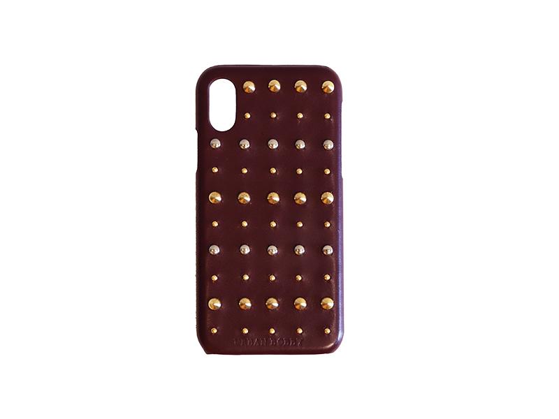 画像1: Studs iPhone case (BURGUNDY) (1)